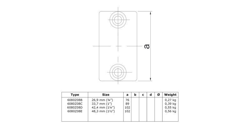 Koppelstuk 42.4 mm ZWART