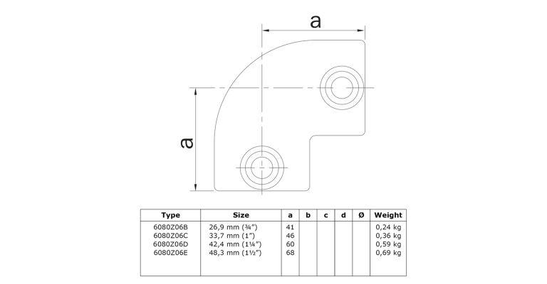 Elleboog 42.4 mm ZWART