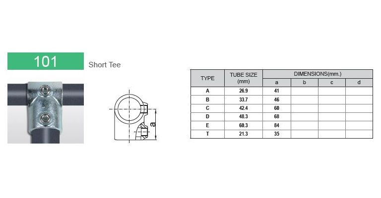 Kort T stuk 26.9 mm
