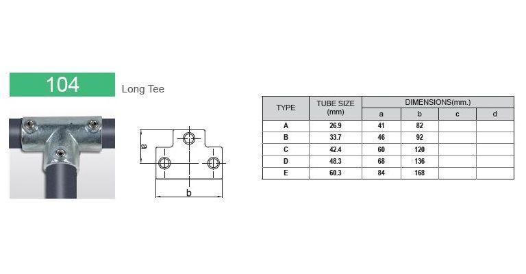 Lang T stuk 33.7 mm