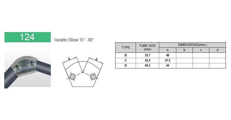 Elleboog 15-60 graden 42.4 mm