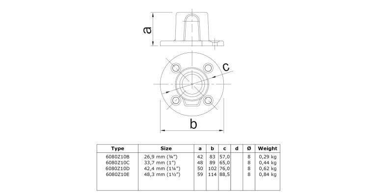 Voetplaat 48.3 mm ZWART