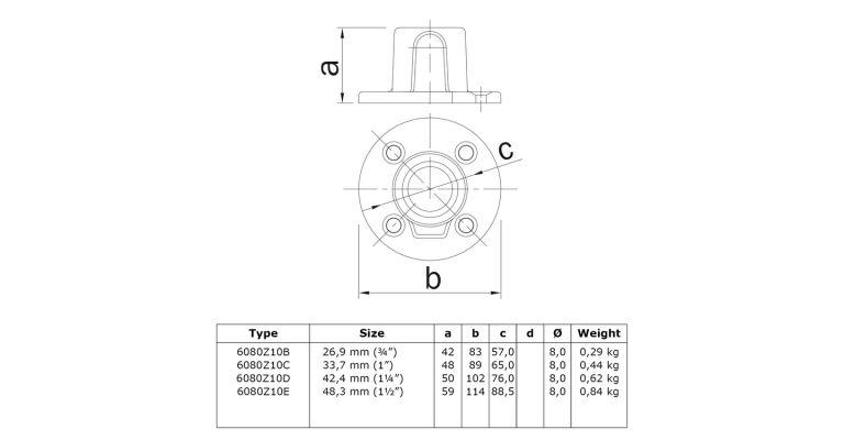 Voetplaat 26.9 mm ZWART