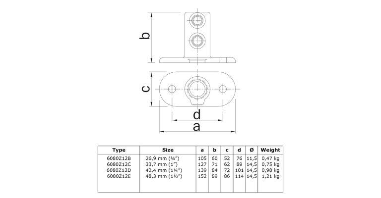 Voetplaat hoog 42.4 mm ZWART