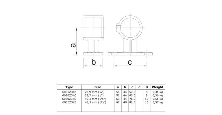 Afstandsklem 42.4 mm ZWART