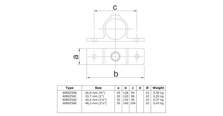 Klemring plaatmontage dubbel 42.4 mm ZWART