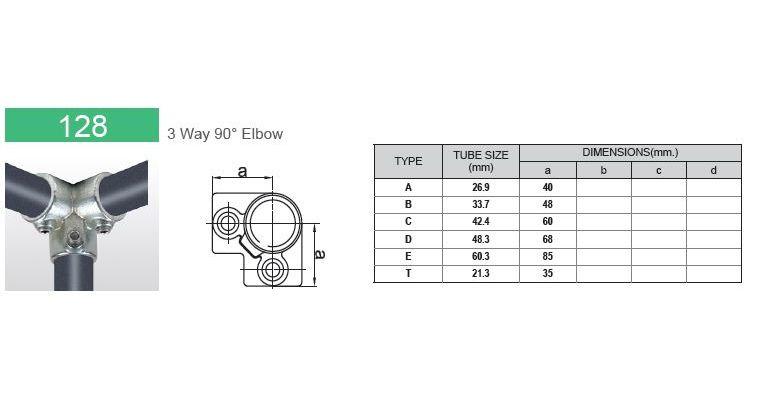 3-weg 90 graden hoekklem 42.4 mm