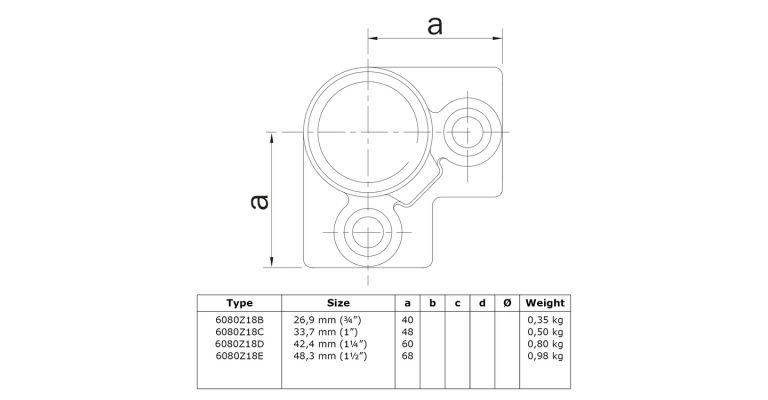 3-weg 90 graden hoekklem 42.4 mm ZWART