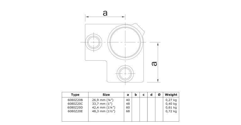 4- weg 90 graden hoekklem 48.3 mm ZWART