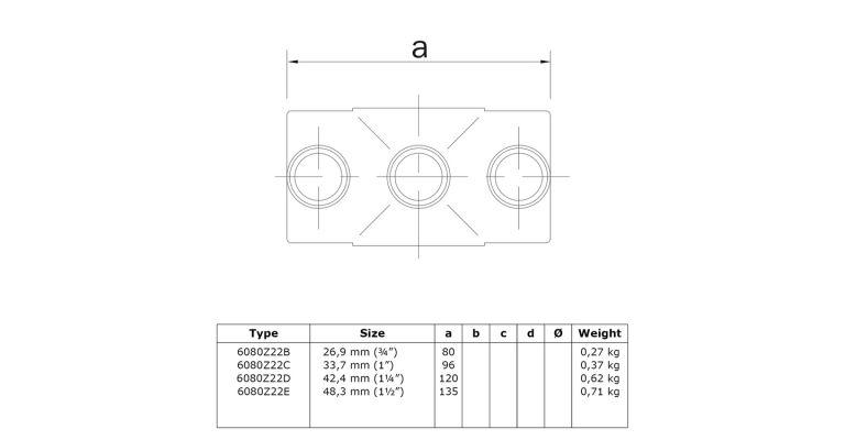 2-weg 90 graden koppelstuk 48.3 mmZWART