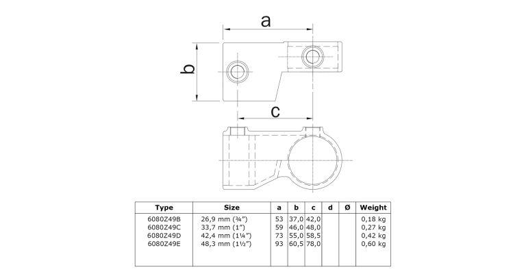 2 delig scharnierstuk 3-wegklem 42.4 mm ZWART