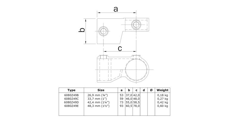 2 delig scharnierstuk 3-wegklem 48.3 mm ZWART