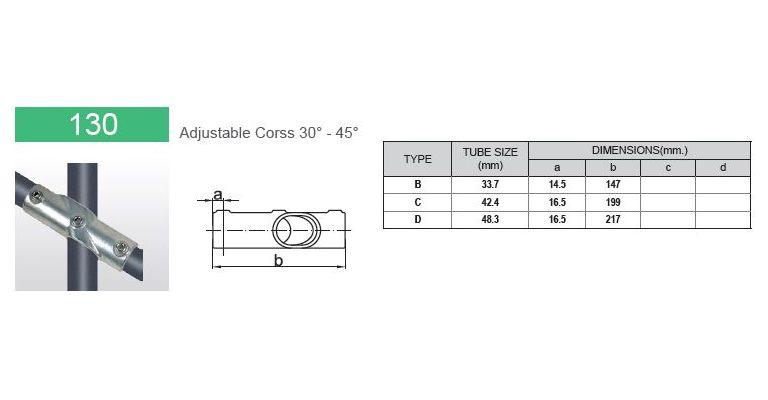 koppelstuk 30-45 graden open 33.7 mm