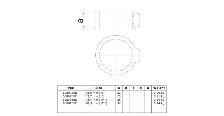 klem-/borgring 42.4 mm ZWART