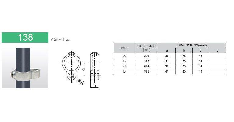 klemring hekscharnier V 33.7 mm