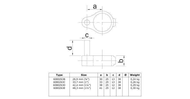 klemring hekscharnier M 42.4 mm ZWART