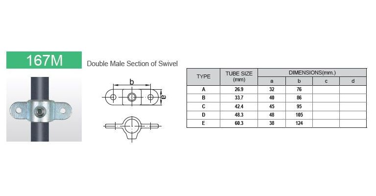 Scharnierdeel M dubbel 33.7 mm