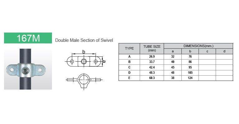 Scharnierdeel M dubbel 60.3 mm