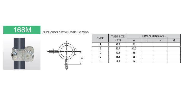 Scharnierdeel M dubbel 90 gr. 60.3 mm