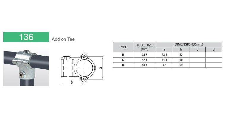 open T-stuk scharnierend 42.4 mm