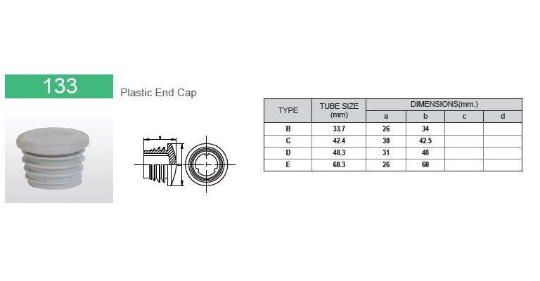 Plastic eindkap 26.9 mm