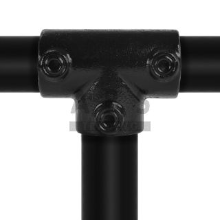 J04G40Z Lang T stuk 48.3 mm ZWART