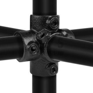 J24G40Z  4-weg 90 graden koppelstuk 48.3 mm ZWART